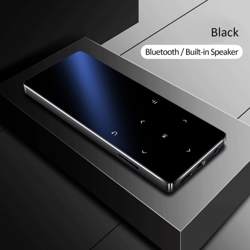해외직구 MP3플레이어 블루투스 mp3 플레이어 스피커 hifi 금속 휴대용 워크맨 fm 라디오 녹음 내장 스피커 터치 키 1.8 인치 tft 화면, 128GB, 검은 색
