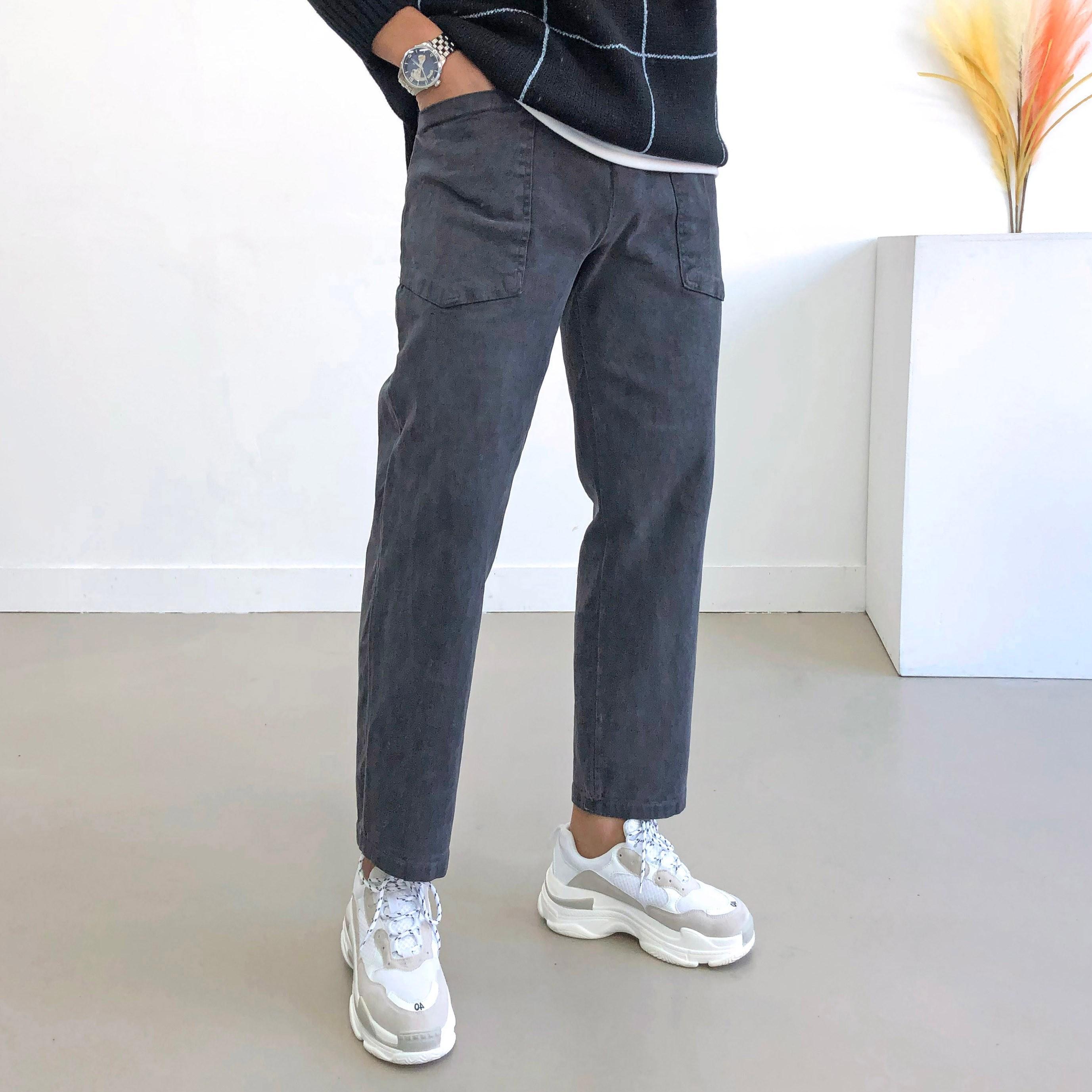 간빠레 남자 피그먼트 앞포켓 피치기모 일자 와이드팬츠