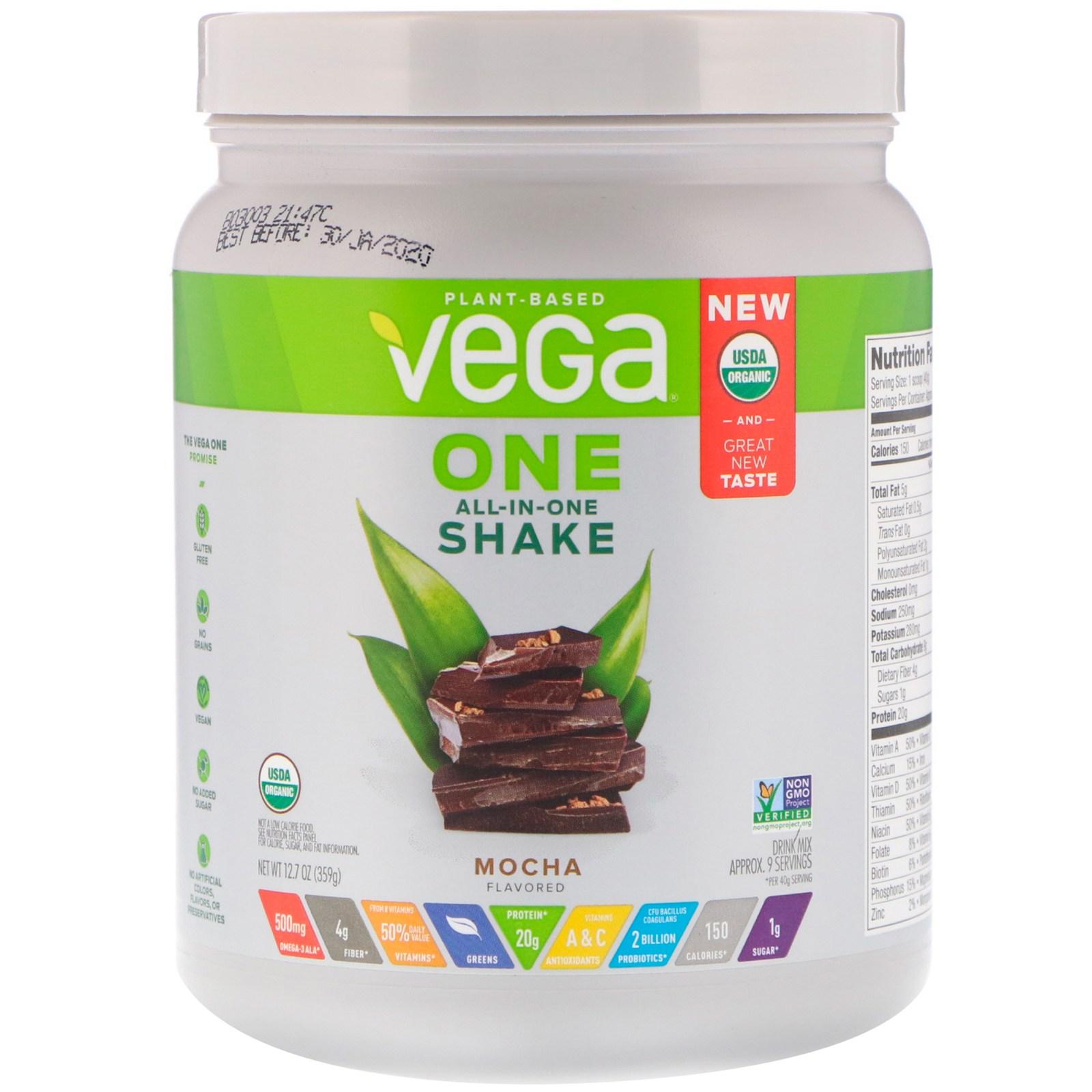 베가 원 올인원 쉐이크 모카 12.7 oz 359g 식물성 단백질, 1개, -