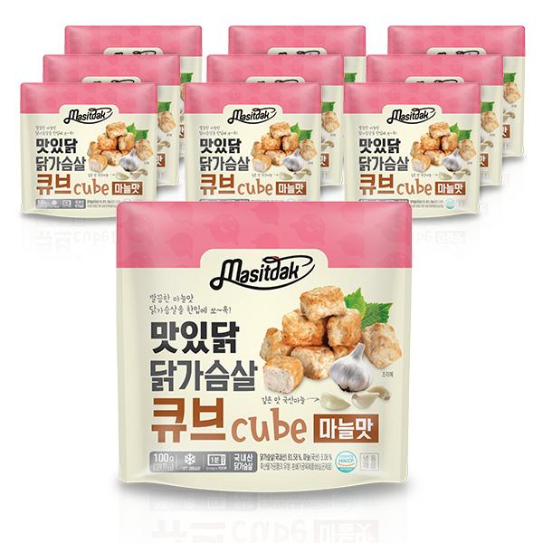 맛있닭 닭가슴살 큐브 마늘맛, 10팩
