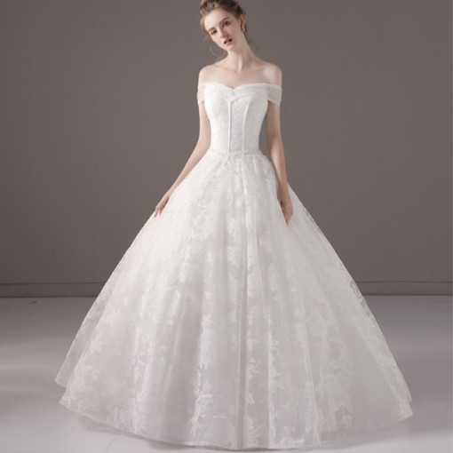 온리쉬 은은한 레이스 무늬 벨라인 셀프 웨딩 드레스