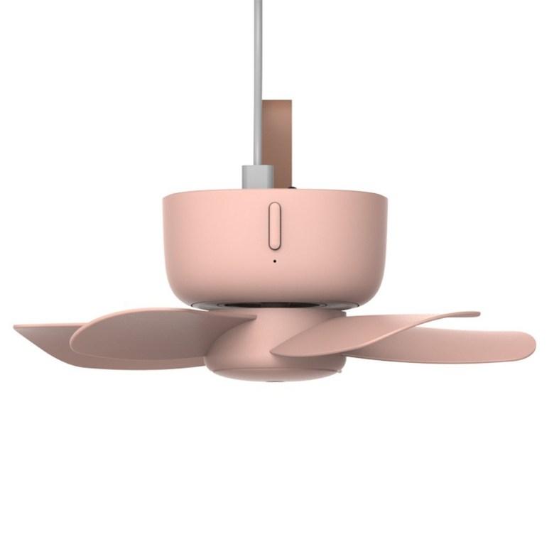 캠핑 타프팬 실링팬 거실 천장 USB 충전식 무선 선풍기 천장형 천장걸이, USB 연결형 모델 - 산호핑크