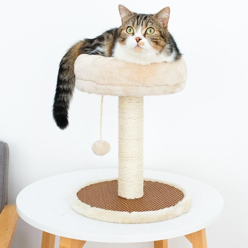 미래물 고양이 장난감 올빼미 기둥 잡기 줄넘기 줄타기 소형ZZW, 1개, 베이지A1