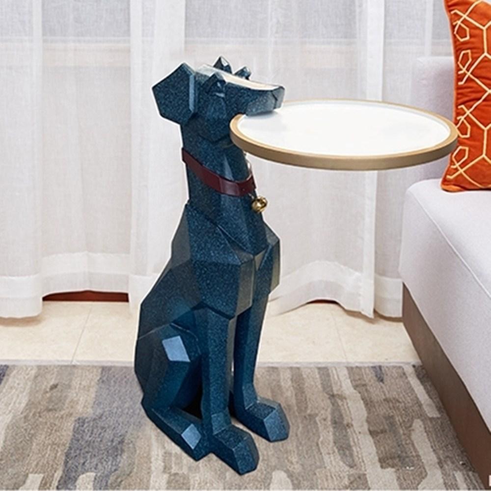 아무거나안팜 미니원형 쇼파 침대 보조사이드테이블 거실협탁 창가 화분테이블, 블루
