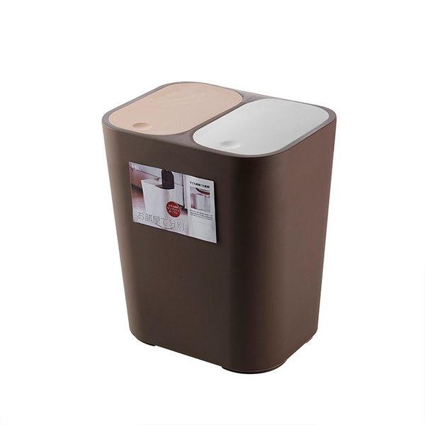 원룸 가정용 분리수거 함 대 재활용 분류 쓰레기 통, 다크 브라운 (18L)