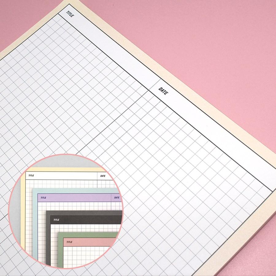 바이미포미 레트로 그리드 B5 모눈 대떡메모지 노트패드, 1개, 로맨틱바닐라