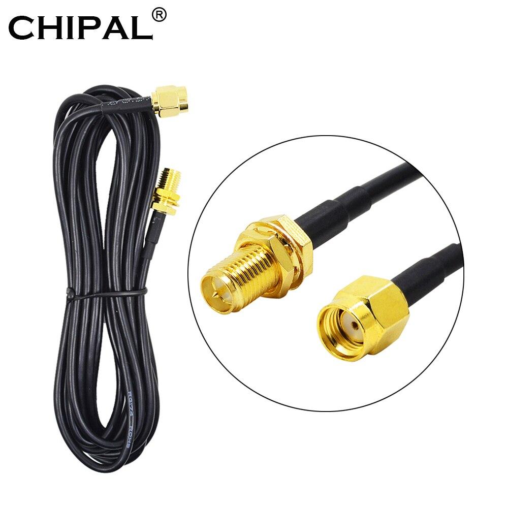 CHIPAL 3M RG174 RP SMA WiFi 연장 케이블 남성 여성 피더 와이어 동축 와이파이 네트워크 카드 라우터 안테나 용 순수 구리|통신용 안테나|, 1개, 2M, 단일