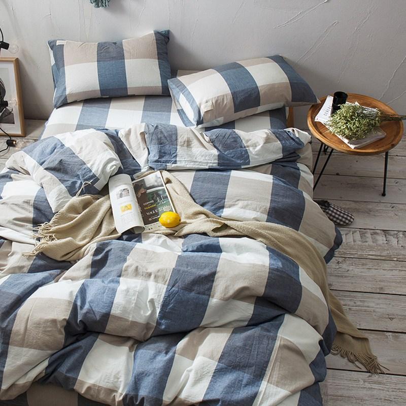 침구세트 일식 워싱면 4피스세트 순면 심플 셀럽 침대커버 침구커버 이불커버 쓰리피스 침구 4, C01-1.2m침대(침대커버 상품 3세트)적합 150x200이불