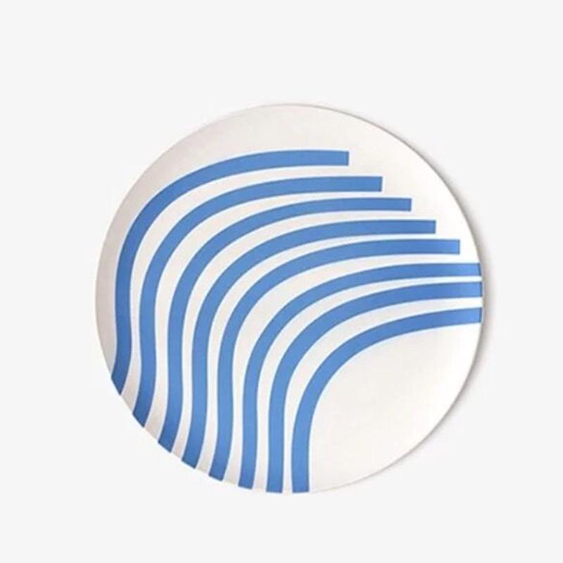 뱀부플레이트 대나무섬유 안깨지는그릇 캠핑 볼 8종 샌드위치 카페 디저트 테라조접시 2020, 블루 스트라이프 패턴의 대나무 섬유 접시