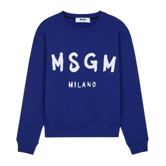 공식 MSGM 19FW 여성 밀라노 로고 맨투맨 블루 2741MDM89 195799 85