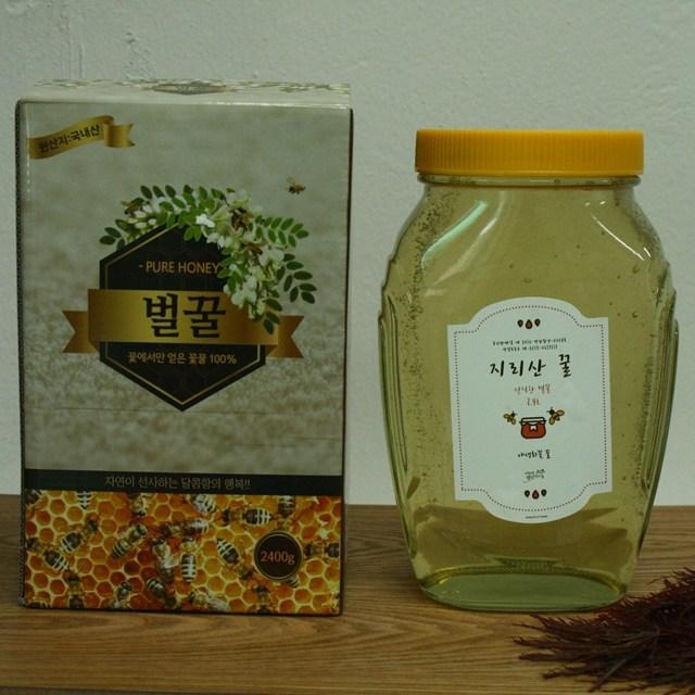 지리산 19년 햇 천연 아카시아 꽃 벌 꿀 2.4kg, 1박스