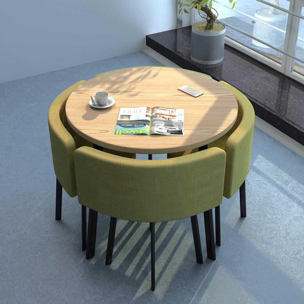 4인가족 화이트 원형 카페테이블세트 사각 라운드 식탁 세트 가정용 공간절약 조립식가구, AA