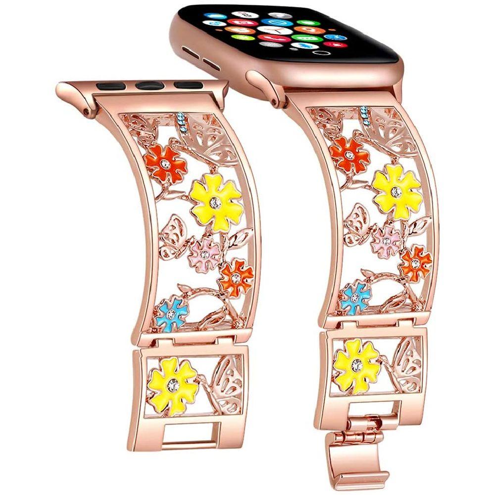 Duoan 애플 시계 밴드 38mm 40mm 42mm 44mm iWatch 밴드 시리즈 5 4 3 블링 크리스탈 꽃 스트랩 중공 금속