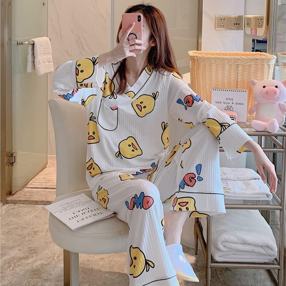 골지 투피스 캐릭터 여성잠옷 투피스파자마 홈웨어
