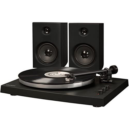 Crosley T150 Modern 2-Speed Bluetooth Turntable System with Variable Weighted Tone Arm and Stereo Speakers White, 옵션 1 Color = Black