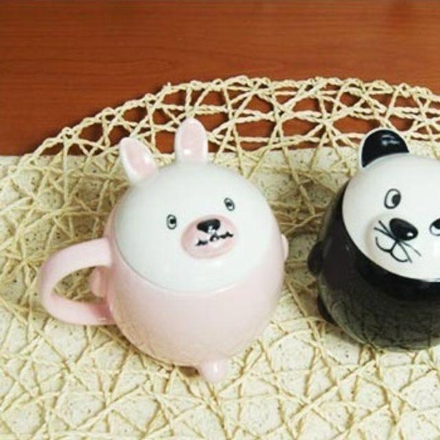 RW64041A 유리 유치원 커피잔 실리콘 핸드메이드 위생 도자기 안깨지는 머그 컵 어린이집 뚜껑 커피 유아 귀여운 아이 플라스틱 물 어린이 머그컵, R 핑크토끼