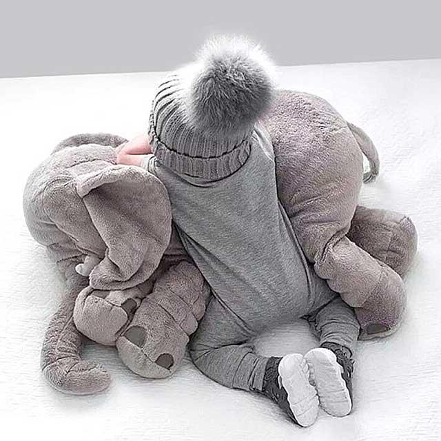The크리스탈 애착베게 코끼리 남자 여자 아기 안고자는 수면 애착 인형 애착인형, 그레이