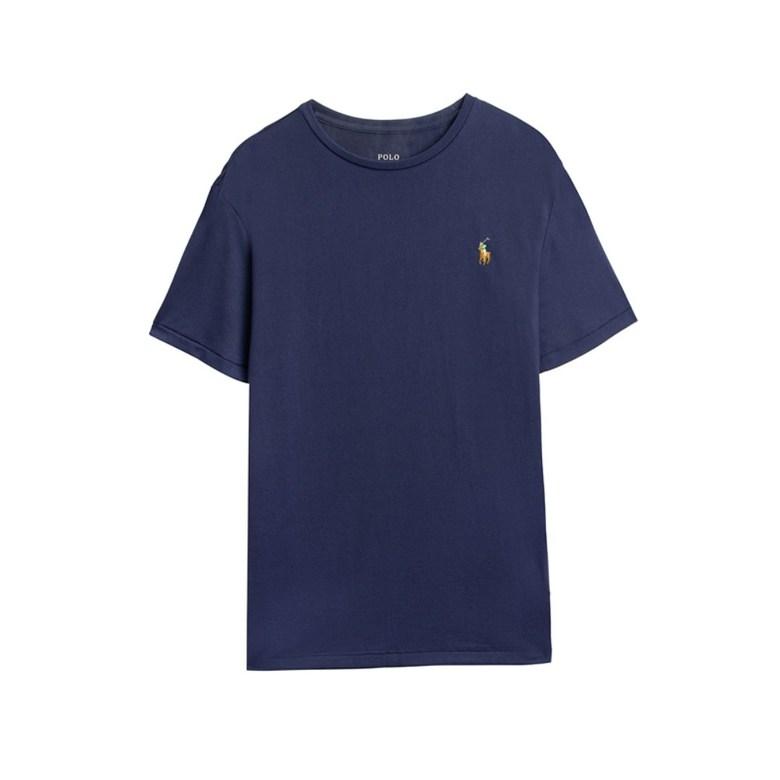 해외직구 클래식 핏 남성 폴로 라운드 넥 티셔츠 비즈니스 캐주얼 네이비 블루 반팔티