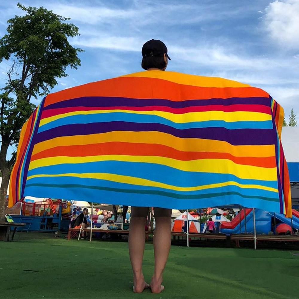케이투나인 특대형 비치타올 180cm x 100cm, 1개, 특대 웨이브레인보우 비치타올