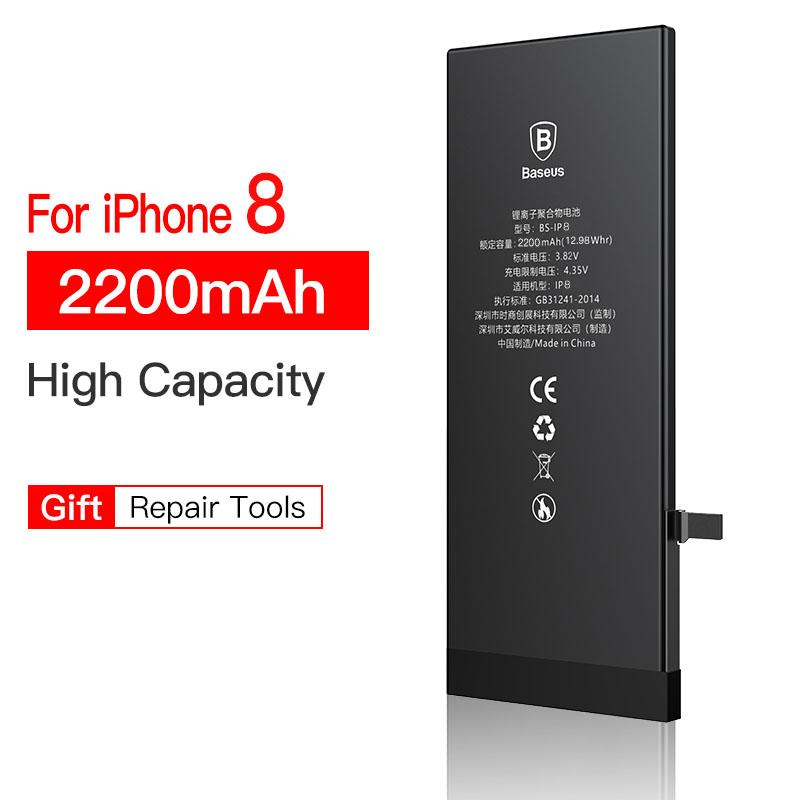 BASEUS Baseus 베이스 배터리 iPhone 6s 6 s 5s 5 5c 7 8 Plus 원래 대용량 Bateria 교체 7P 8P, For iPhone 8 2200mah