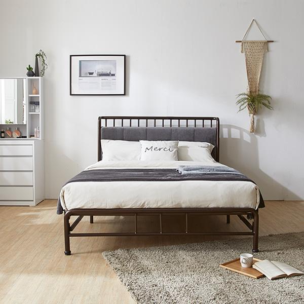 수도권무배 퍼피노 블랑 원터치 철제 퀸 침대 프레임매트리스 세트 nm233 와인브라운