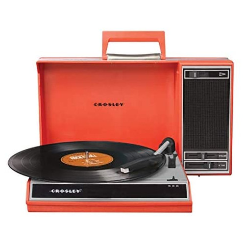 Crosley CR6016A-BL Spinnerette Portable 3-Speed Turntable with Software Suite for Ripping and Editing Audio, 옵션 2 Color = Red