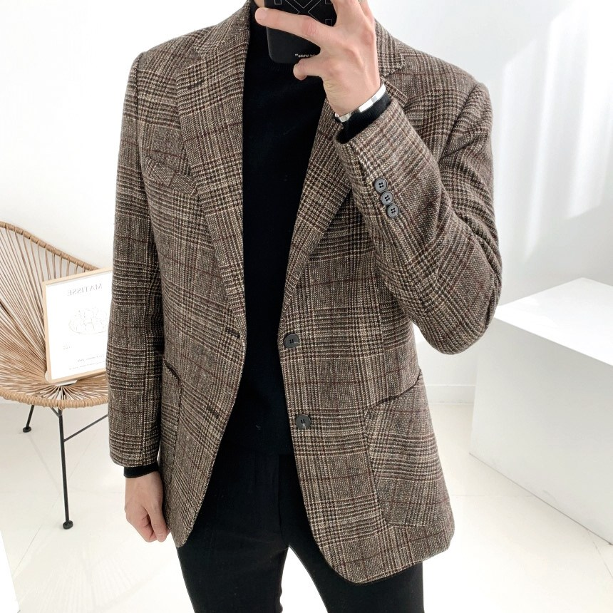 울 글렌체크 남자 싱글자켓 블레이져 2XL 빅사이즈까지(1color)