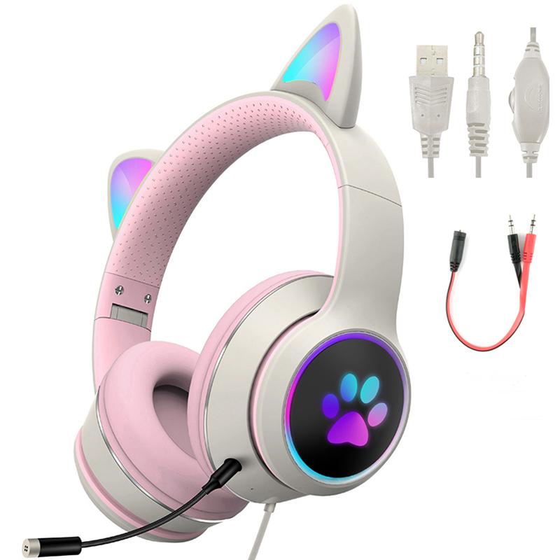 Qianyiyuan AKZ022고양이 귀 RGB 게임용 컴퓨터 헤드셋, 그레이