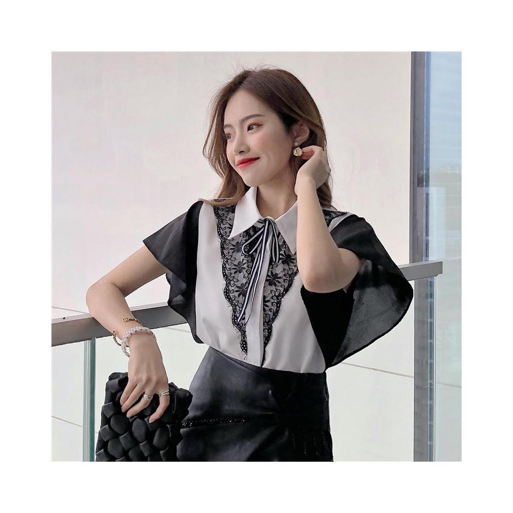 알지구 썸머 블라우스 실제 촬영 2020 여름 새로운 반팔 셔츠 한국어 색상 일치하는 쉬폰 모든 경기 레이스 여성