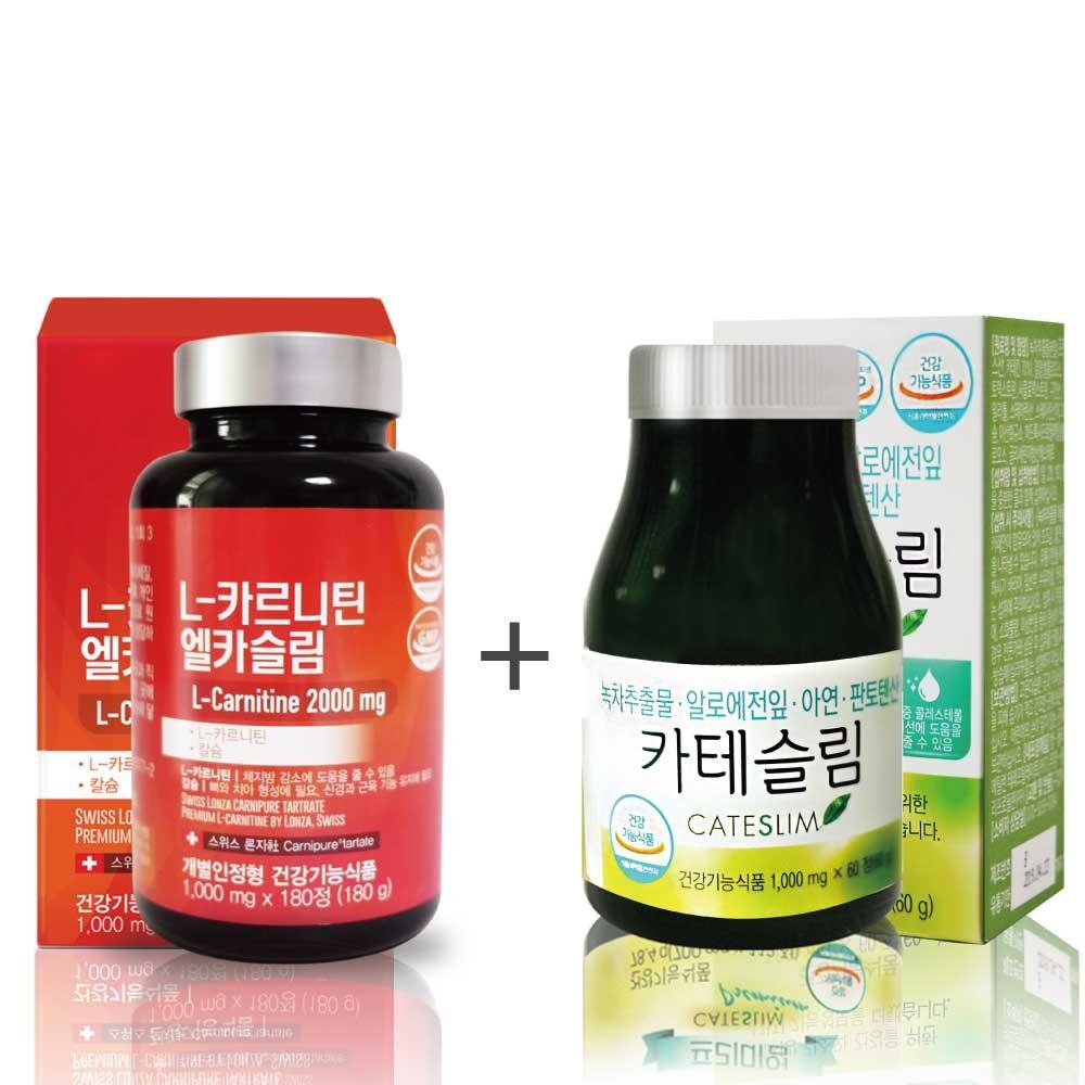 네이처그린라이프 (1+1)카테슬림+엘카슬림 녹차카테킨 엘카르니틴 다이어트 보조제 다이어트식품 체지방분해 추천, 1개
