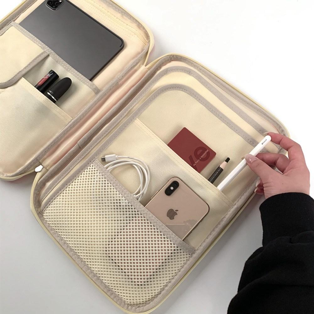 JS automotive 맥북 아이패드 10인치 13인치 14인치 15인치 16인치 멀티 스토리지 다이어리 볼펜 수납 가방, 블랙