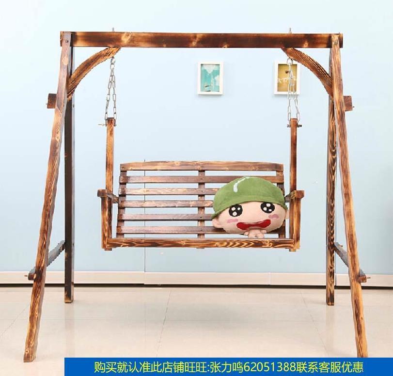 실내그네의자 이코노미형 실외 휴식의자 원목 베란다그네 그네의자 가정용 두꺼운넝쿨 실내 방부목재 테라스 베란다 ., T03-카보나이징 나무그네 한세트(B타입)