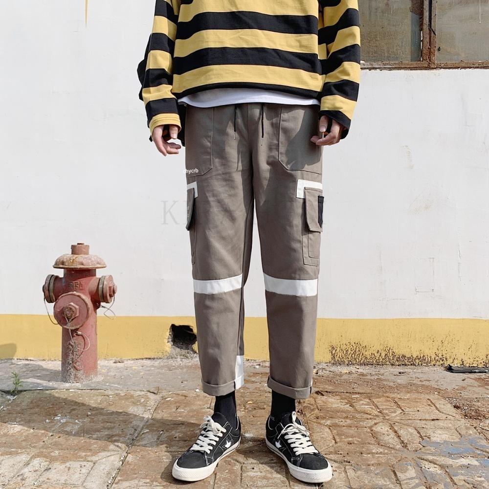 kirahosi 남성 스트릿패션 배색 카고바지 카고팬츠 밴딩바지 + 덧신증정 Wyh2o1f