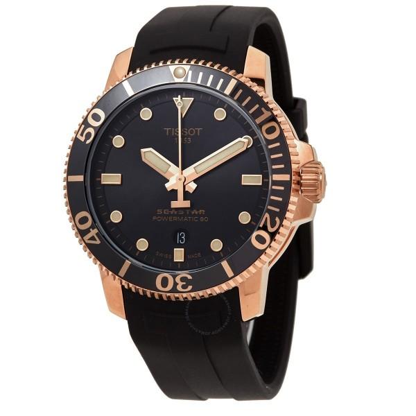 [T120.407.37.051.01] Seastar 1000 Powermatic 80 Automatic Black Dial Men's Watch T120.407.37.051.01
