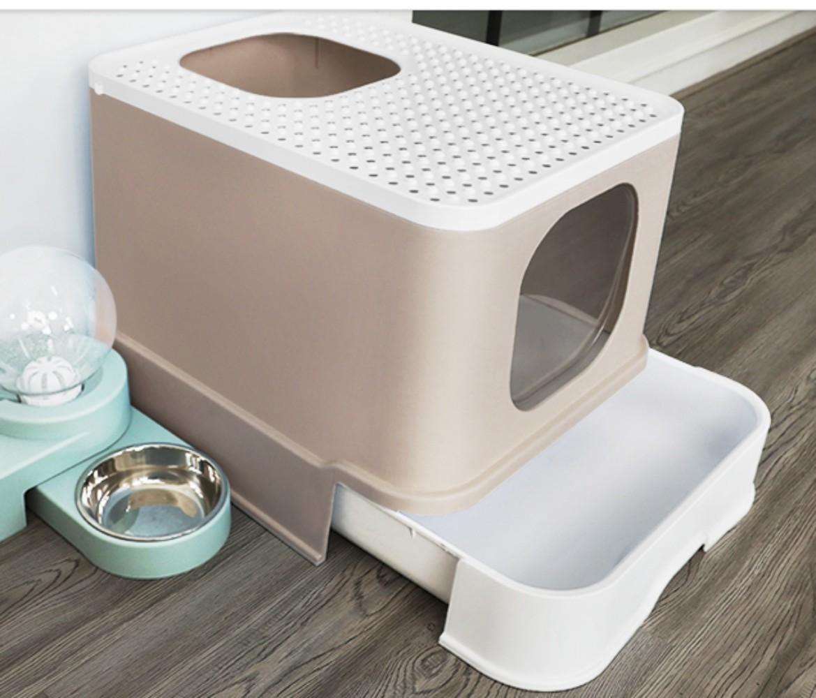묘래박스 오픈형 대형 고양이 화장실 캣츠 캡슐 배변통 강집사, 브라운