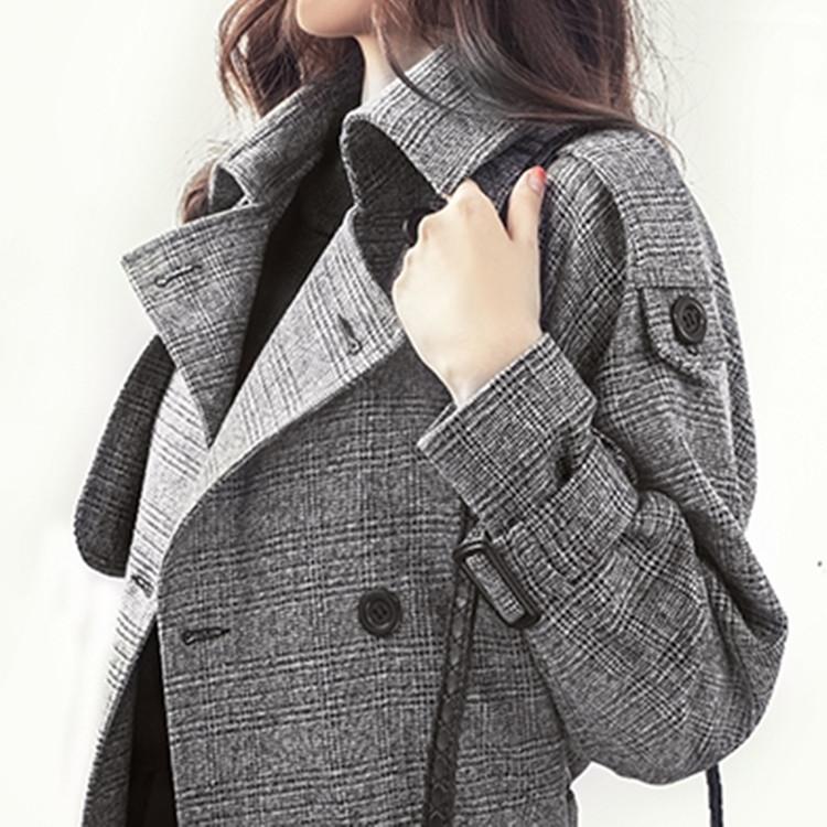 트렌치코트 안티 시즌 프로모션 가을 영국 한국 윈드 브레이커 중간 길이 슬림 대형 격자 무늬 코트 더블 브레스트 재킷 여성 트렌드