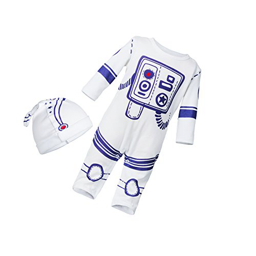 Face Dream 2pcs Baby Boy Girl Jumpsuit One Piece Romper Spaceman Astronaut Outfit With Hat 얼굴 꿈 2pcs, 1