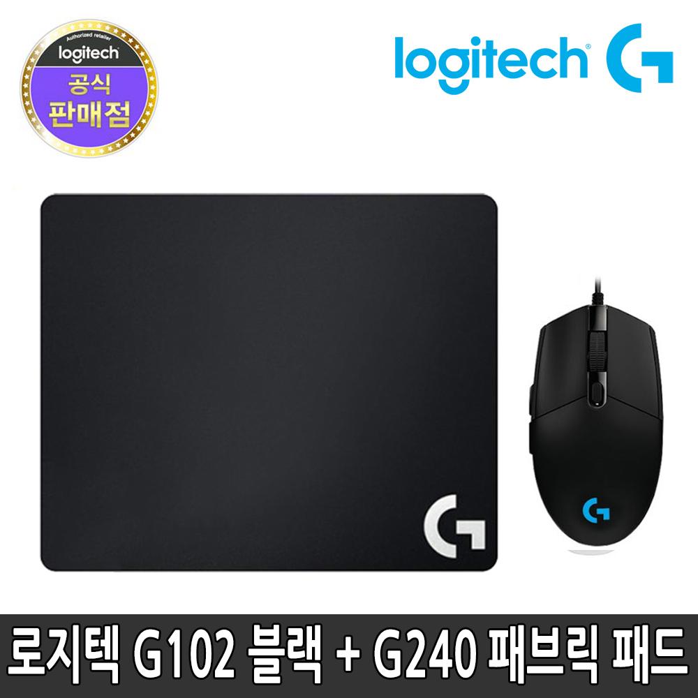 로지텍 정품 유선 마우스 G240 세트, G102 유선 마우스 블랙 + G240 마우스패드