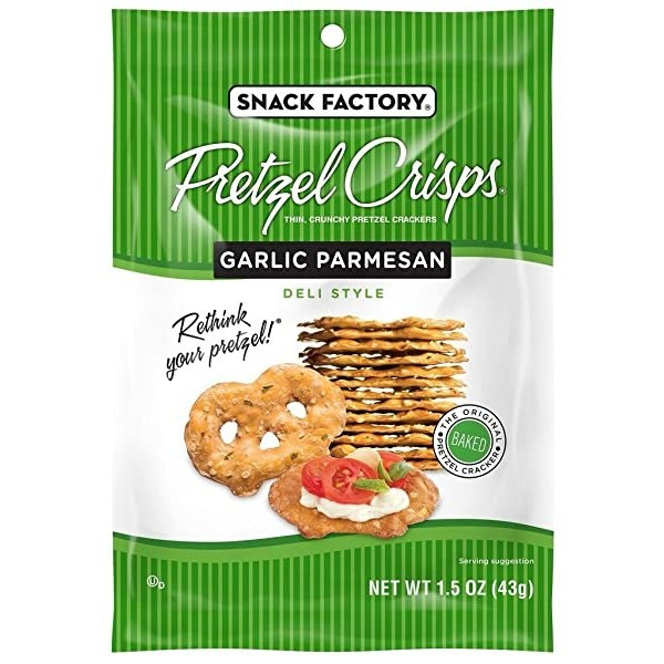 Snack Factory Pretzel Crisps Garlic Parmesan 스낵 팩토리 프레첼 크리스프 갈릭 파마산 43g 24개입, Garlic Parmesan_1.5 Ounce Pack of 24