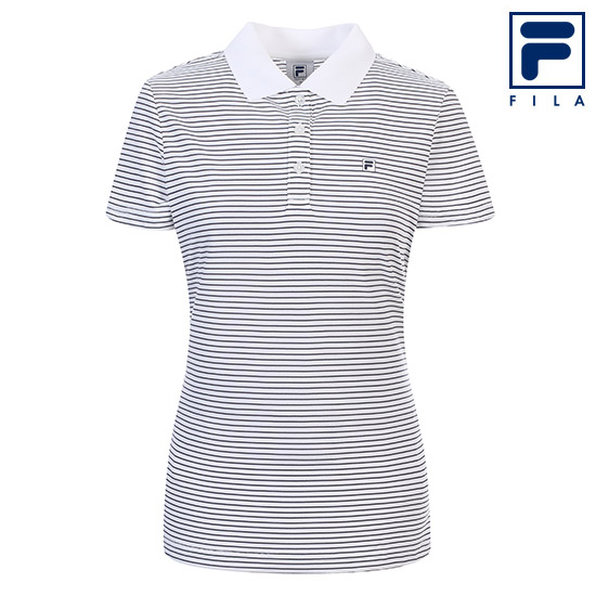 휠라 여성 스트라이프 카라 티셔츠 FI4MTA2172F_WHI, 화이트