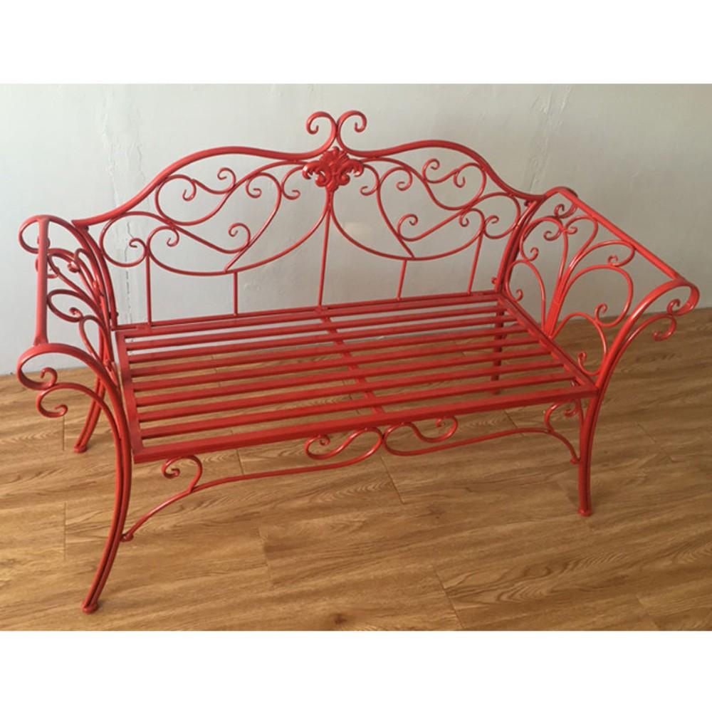 북유럽 빈티지 야외 벤치 엔틱 2인용 철제 철재 정원 베란다 마당 카페 인테리어 의자, 레드 싱글