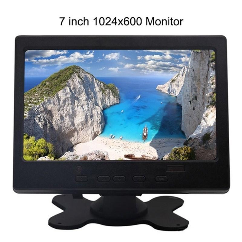 라미무역 해외배송 7 인치 HDMI 터치 모니터 PC 미니 소형 LCD CCTV 풀 HD 휴대용 모니터 TFT 1024 600 내장 스피커 자동차 역방향 후방, 1024X600 (POP 5691692057)