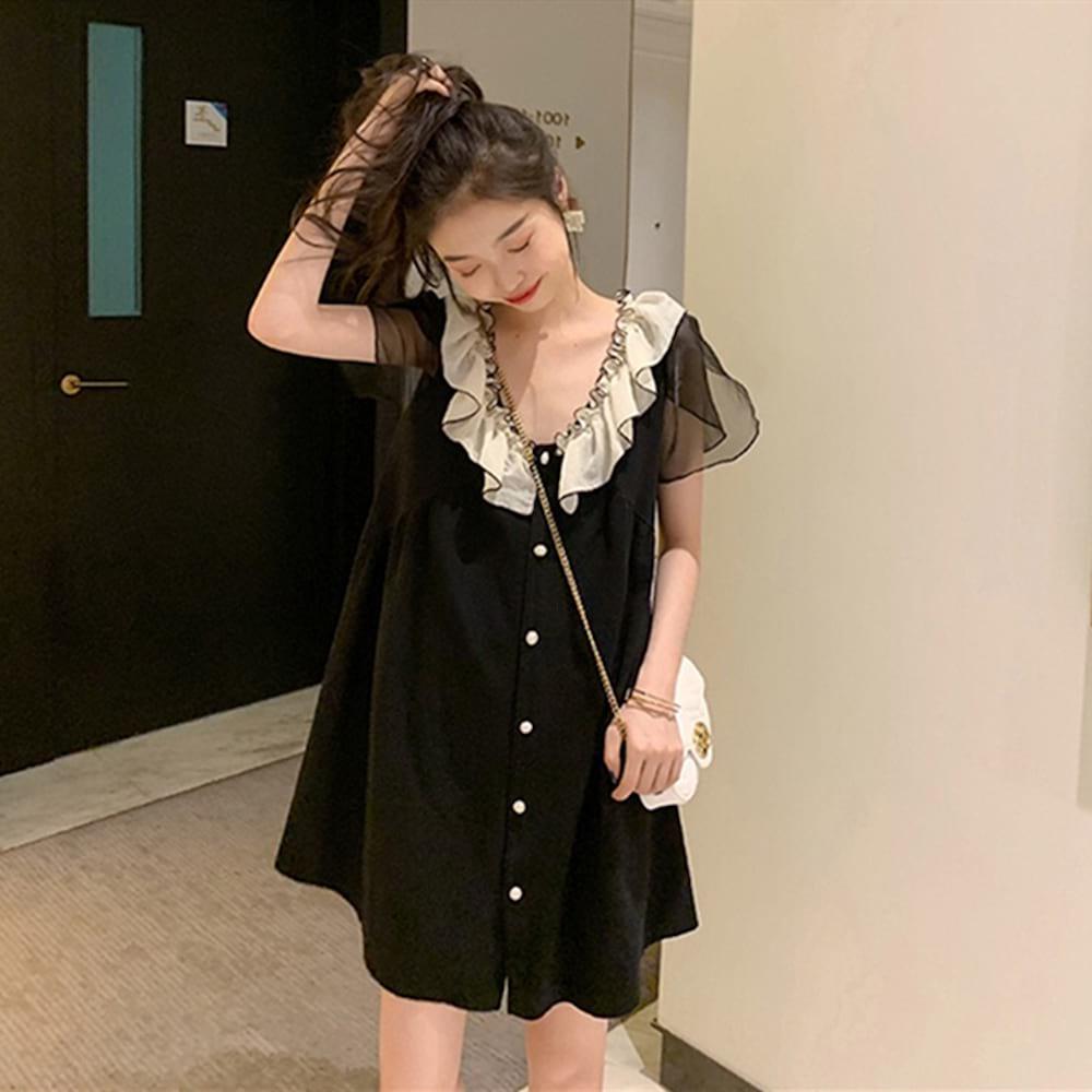 위파인더 여름 선녀복 스커트 프렌치 쉬폰 블랙 스커트 통통한 mm 날씬해 보이는 미디 셔츠 원피스