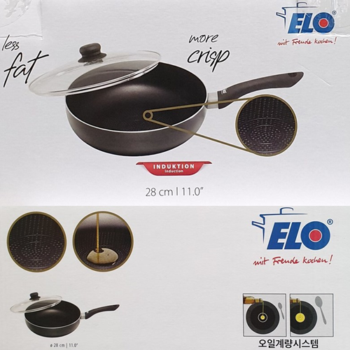인덕션 웍팬 28cm 무료배송 ELO INDUCTION WOKPAN 웍팬28cm+유리뚜껑 엠보싱바닥 및 오일계량시스템으로 요리가 편리 모든 열원사용가능 포함, 1개, 웍팬28cm