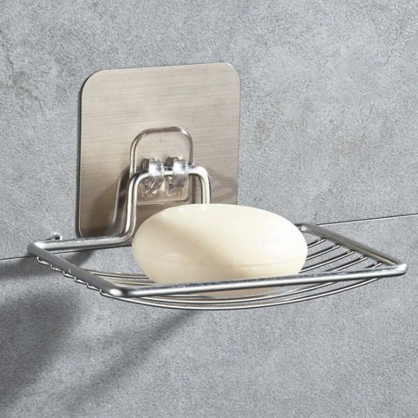 스텐 곡선 접착식 비누받침대+투명매직후크, 1set, 실버(접착패드색)