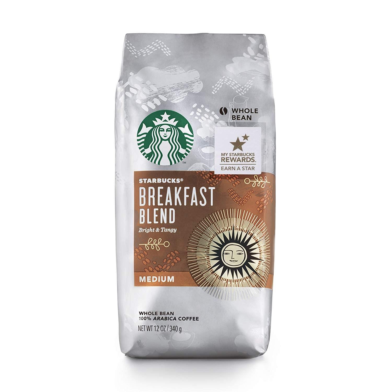 스타벅스 브렉퍼스트 블렌드 미디엄 아라비카 커피, 홀빈(분쇄안함), 340g