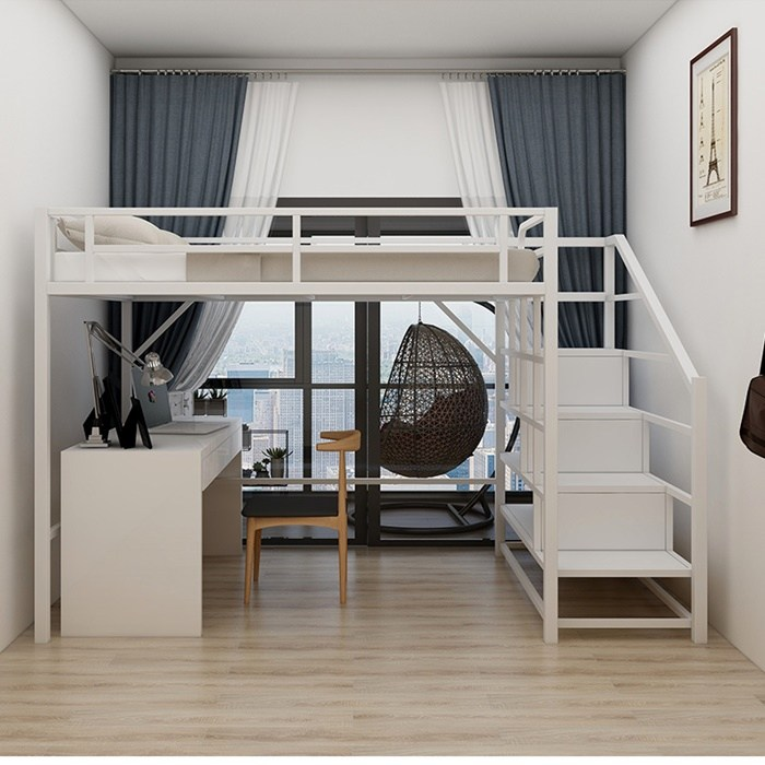 원룸 공간활용 성인 철제 벙커 이층 침대, 타입A 화이트