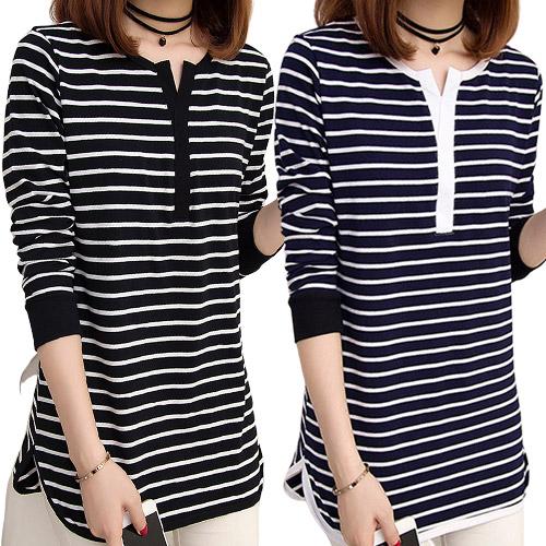 엘레스 여성티셔츠 2개 세트 루즈핏 블랙+네이비 긴팔 티셔츠