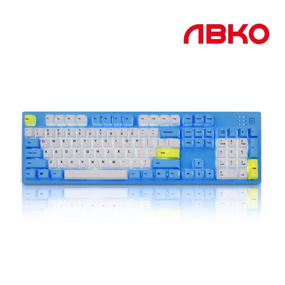 앱코 HACKER K990 V3 스카이문 LED 완전방수 무접점 유선키보드, 블루