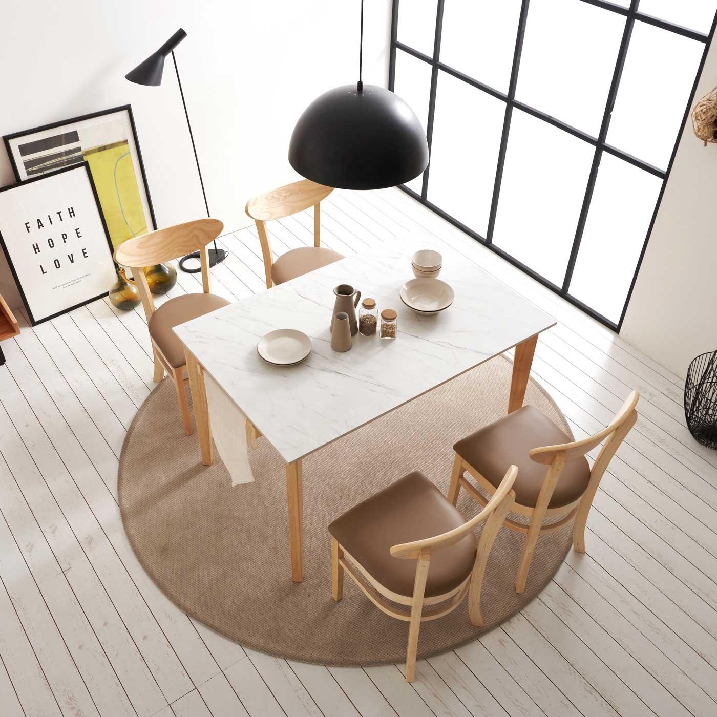 보니애가구 라일라 1200 통세라믹 4인용 식탁 세트 식탁세트, 체어형 (의자 4개)